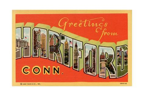 Greeting Card from Hartford, Connecticut Stretched Canvas Print