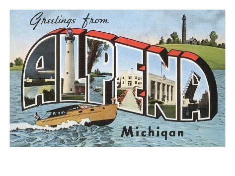 Greetings from Alpena, Michigan Art Print