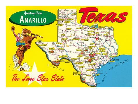 Greetings From Amarillo Texas Map Prints AllPosterscouk - Where is amarillo texas on the map