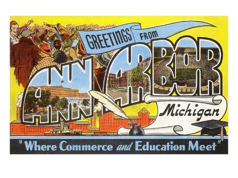 Greetings from Ann Arbor, Michigan Art Print