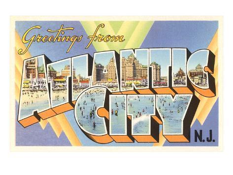 Greetings from Atlantic City, New Jersey Art Print