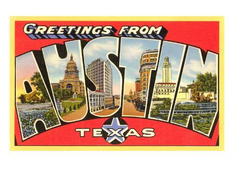 Greetings from Austin, Texas Art Print