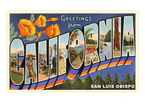 Greetings from California, San Luis Obispo Art Print