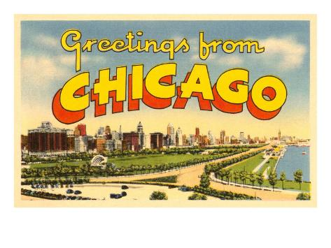 Greetings from Chicago, Illinois Art Print