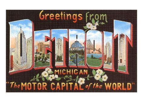 Greetings from Detroit, Michigan Art Print