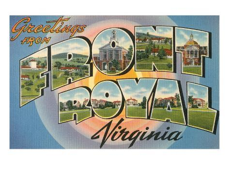 Greetings from Front Royal, Virginia Stretched Canvas Print