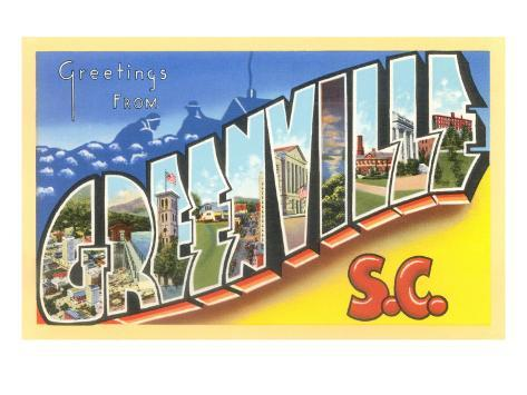 Greetings from Greenville, South Carolina Art Print