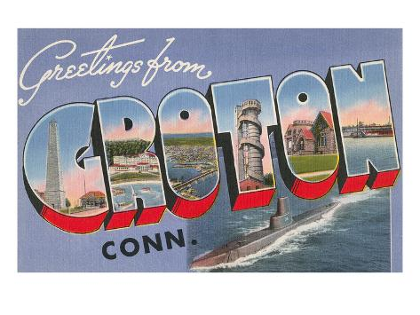 Greetings from Groton, Connecticut Stretched Canvas Print