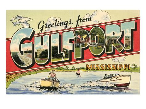Greetings from Gulfport, Mississippi Art Print