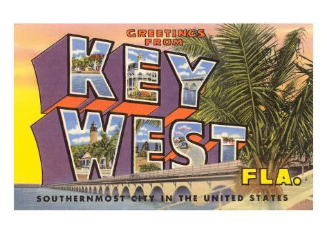 Greetings from Key West, Florida Art Print