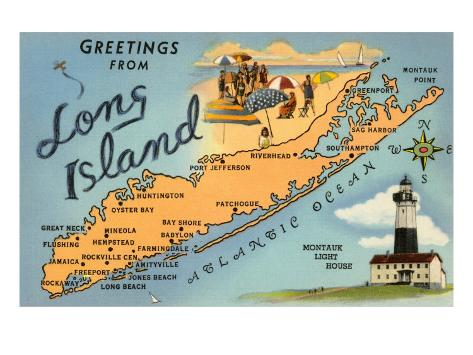 Greetings from Long Island, New York, Map Art Print