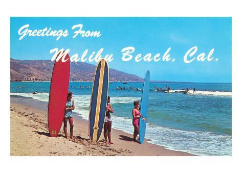 Greetings from Malibu Beach, California, Surfers Art Print