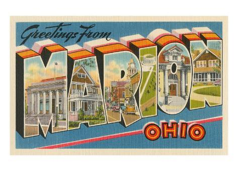 Greetings from Marion, Ohio Stretched Canvas Print
