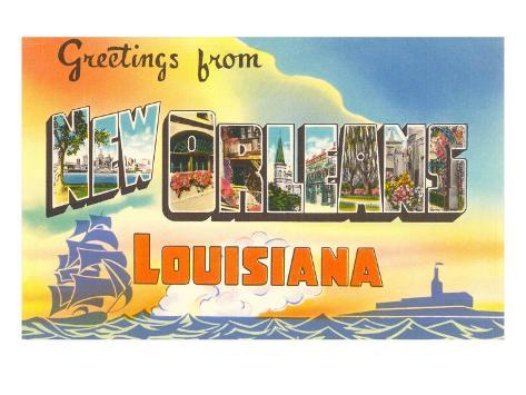Greetings from New Orleans, Louisiana Art Print