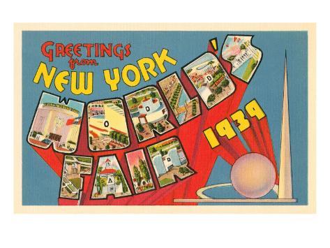 Greetings from New York World's Fair, 1939 Art Print