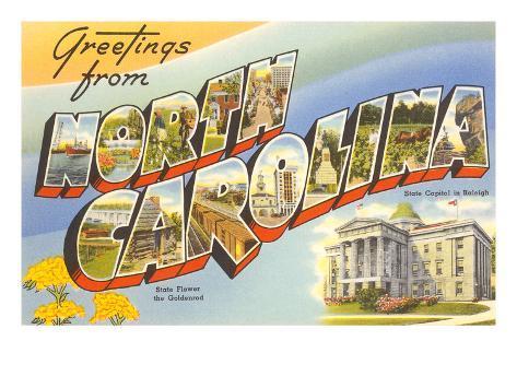 Greetings from North Carolina Art Print