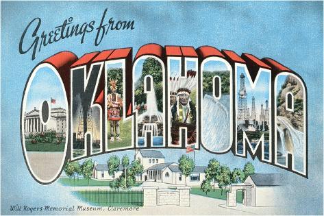 Greetings from Oklahoma Vintage Postcard Giclee Print