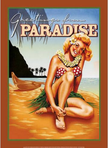 Greetings from Paradise Tropical Bikini Sexy Girl Tin Sign