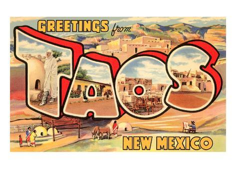 Greetings from Taos, New Mexico Art Print