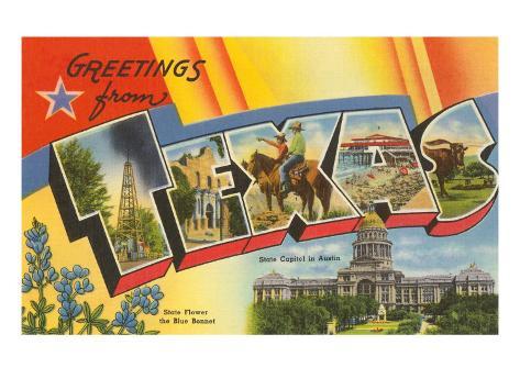 Greetings from Texas Art Print