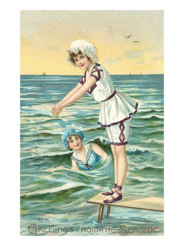 Greetings from the Seaside, Two Victorian Girls Art Print