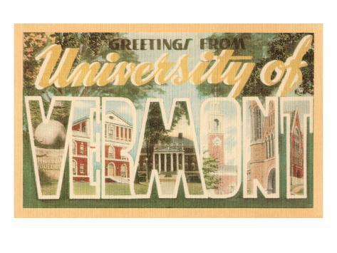 Greetings from University of Vermont Art Print