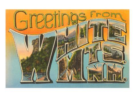 Greetings from White Mountains, New Hampshire Art Print