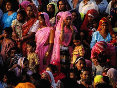 Crowd of Women in Traditional Dress, Jaisalmer, Rajasthan, India Photographic Print