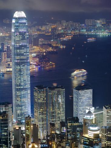 Hong Kong Harbour and Kowloon at Dusk Photographic Print