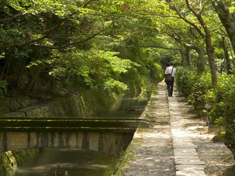 Man Walking the Path of Philosophy, Kyoto, Kinki, Japan Photographic Print
