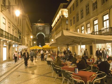 People Sitting Outside Along Rua Augusta, Baixa, Lisbon, Portugal Photographic Print