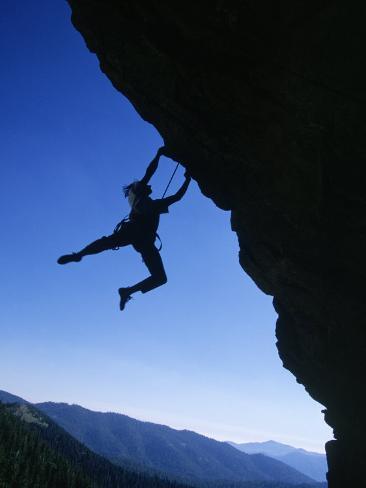 Man Holding Onto Rock, Domelands Wilderness, CA Photographic Print