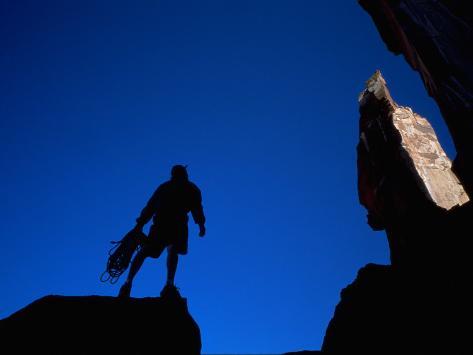 Silhouette of Rock Climber, UT Photographic Print