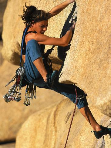Woman Rock Climbing, CA Photographic Print