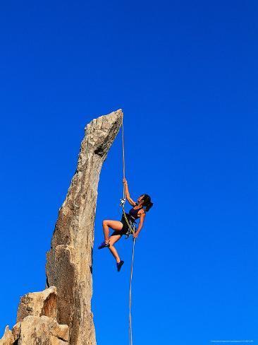 Woman Rock Climbing, Joshua Tree National Park, CA Photographic Print