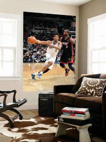 Miami Heat v Washington Wizards: Nick Young and Dwyane Wade Giant Art Print