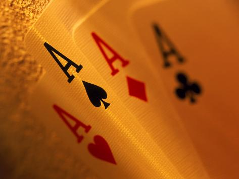 Four Aces in a Hand of Playing Cards Photographic Print