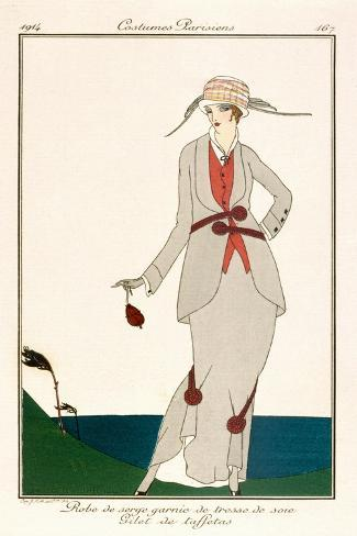 Grey Linen Ladies Suit with Taffetta Waistcoat, from 'Costumes Parisiens' 1914 Stampa giclée