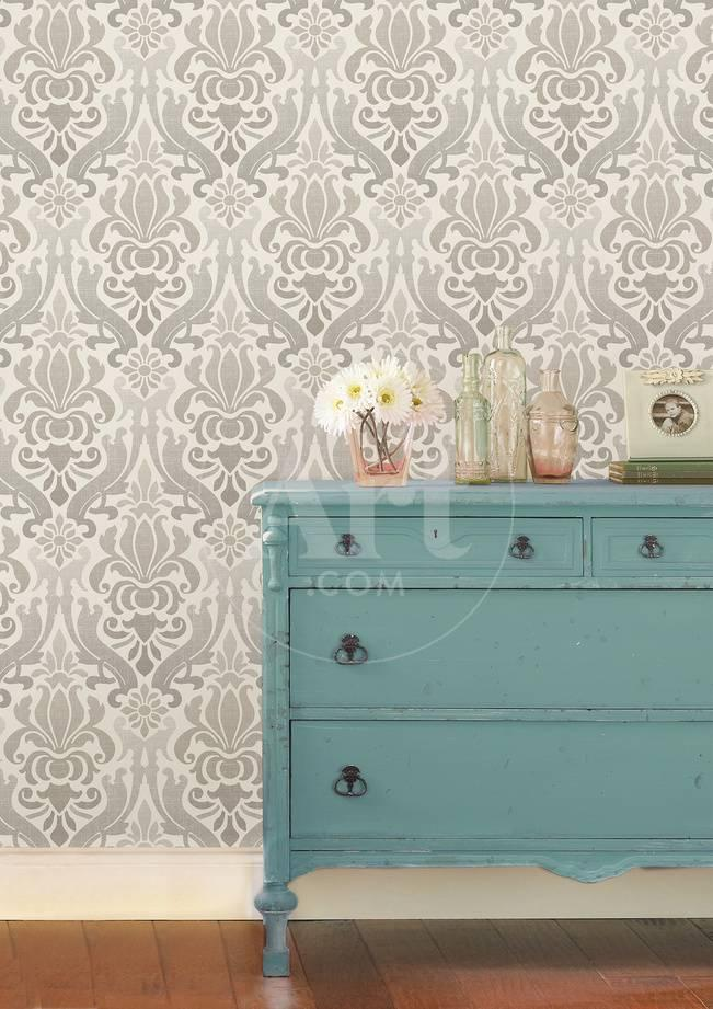 Grey Nouveau Damask Peel Stick Wallpaper Removable Wallpaper Allposters Com