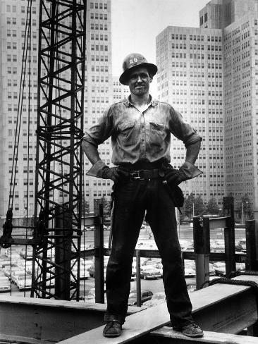 Structural Steel Worker Standing on a Girder Photographic Print