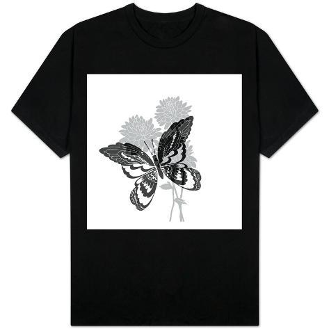Greyscale Print of Butterfly on Flowers T-Shirt