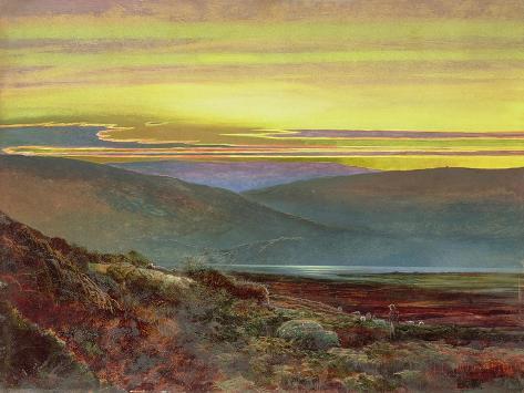 A Lake Landscape at Sunset Giclée-vedos
