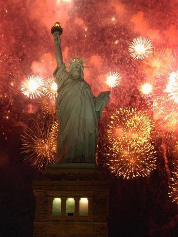 Grucci Fireworks Light the Sky Over the Statue of Liberty Photographic Print