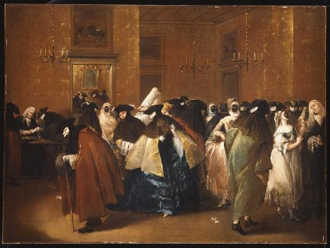 Ladies and Gentlemen in Carnival Costume in the Ridotto, Venice Giclee Print