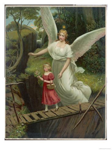 Guardian Angel Watches Over a Child as She Crosses a Dangerous Bridge Lámina giclée
