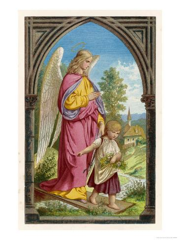 Guardian Angel Watches Over a Small Child as It Gathers Flowers in the German Countryside Lámina giclée