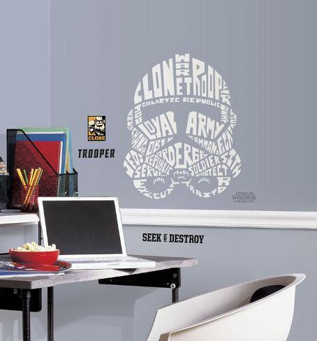 Guerre Stellari - Clone Trooper tipografico gigante (sticker murale) Decalcomania da muro
