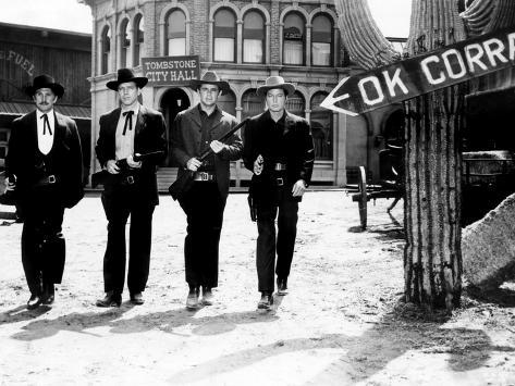 Gunfight at the O.K. Corral, Kirk Douglas, Burt Lancaster, John Hudson, Deforest Kelley, 1957 Photo