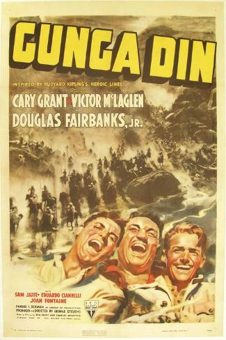Gunga Din, Cary Grant, Victor McLaglen, Douglas Fairbanks Jr., 1939, poster art Impressão artística
