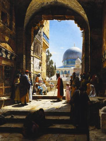 At the Entrance to the Temple Mount, Jerusalem Giclee Print